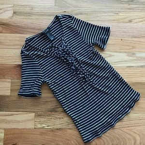 Lace up ribbed stretch tee black and white